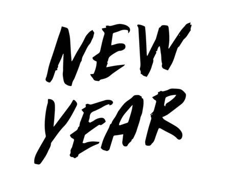 New year brush hand lettering, isolated on white background. Vector illustration. Vetores