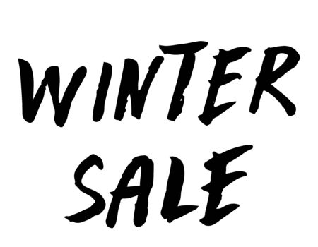 Winter sale hand written inscription on white background. Vector lettering. Banner for stores and online shopping.