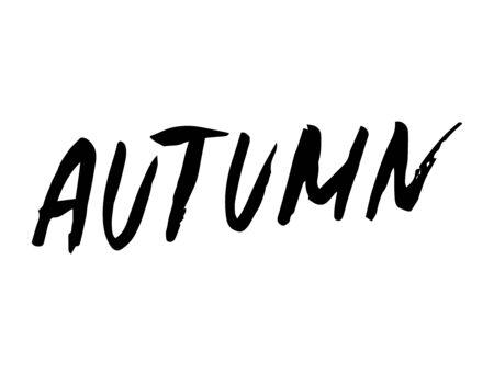 Autumn sign, hand written style. Vector illustration on white background.