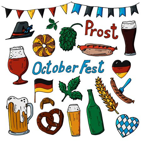 October fest 2020 set of vector icons, hand drawn illustration. Beer,hop,german flag, hat, pretzel, bakery food, wheat,sausage decorative elements 矢量图像