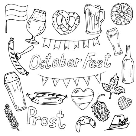 Octoberfest set of vector icons, outline, beer glass, hop,sausage, flags decorations isolated