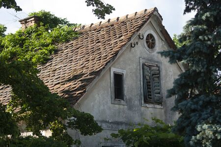 Attic tiled roof of an old house, window with shutters. Trees around.Slovenia.
