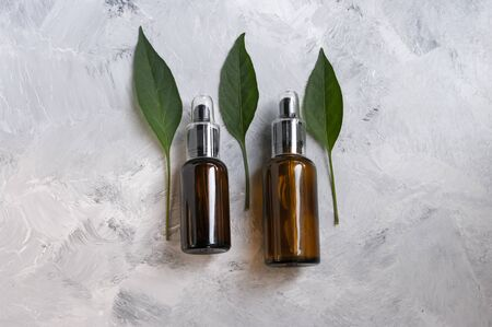 Cosmetic oil, essential in glass with dropper.Copy space for text. Natural care. 免版税图像