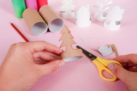 How to make trees, decoration. Daily activities, diy for kids, zero waste, eco toys hand made from paper roll. 6 step check if everything is correct.