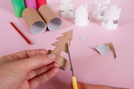 How to make trees, decoration. Daily activities, diy for kids, zero waste, eco toys hand made from paper roll.5 step finish with small details.
