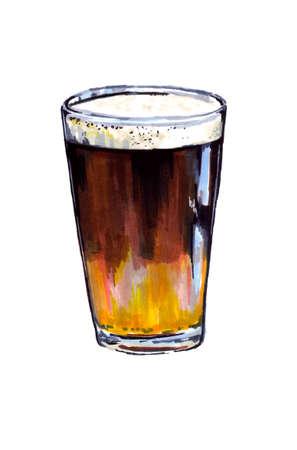 Glasses with dark beer, watercolor drawing 版權商用圖片
