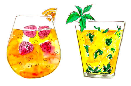 cocktails, watercolor paint, colorful art, hand drawing