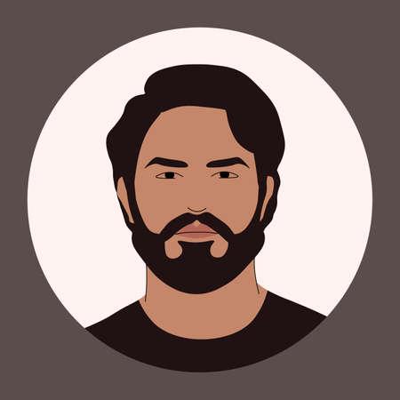 Vector avatar of a brutal bearded man.