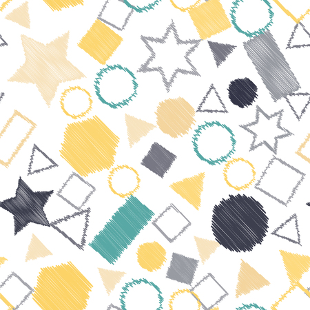 Abstract colored seamless background of circles, squares, stars and rectangles. Multicolored doodles in the form of geometric elements are randomly scattered. Suitable for fabric, packaging, wallpaper