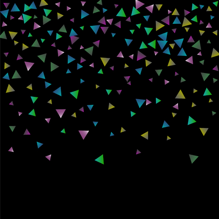 Confetti bright triangles on a black background. Illustration of a drop of multicolored shiny particles.