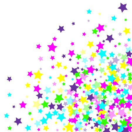 Multicolored scattered chaotically confetti-stars on white.  Vector illustration, EPS 10.
