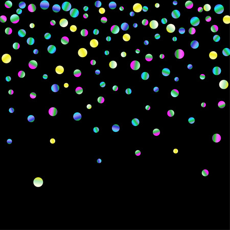 Colored confetti-points are scattered on a black background. Luxury festive background. Multicolored shiny abstract texture. Element of design.