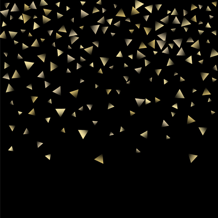 Golden falling confetti triangles on a black background. Abstract background of celebration in the form of a golden triangle.Decorative element. Suitable for your design, cards, invitations, gifts.