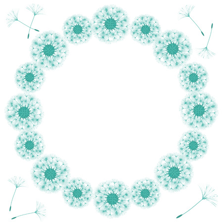 Abstract frame of a dandelion for design. The wind blows the seeds of a dandelion. Template for posters, postcards. Vector illustrations. Stock Vector - 96196168