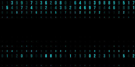 A modern design for digital wallpaper design. Concept business background. Abstract technical background of neon numbers on black. Illustration of the concept of a hacker. Computer code data. Vector.