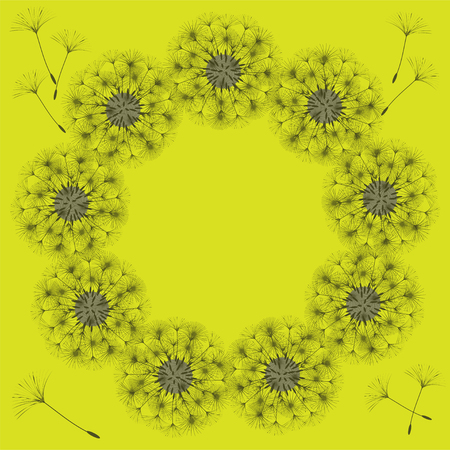 Abstract frame of a dandelion for design. The wind blows the seeds of a dandelion. Template for posters, postcards. Vector illustrations. Stock Vector - 96271964