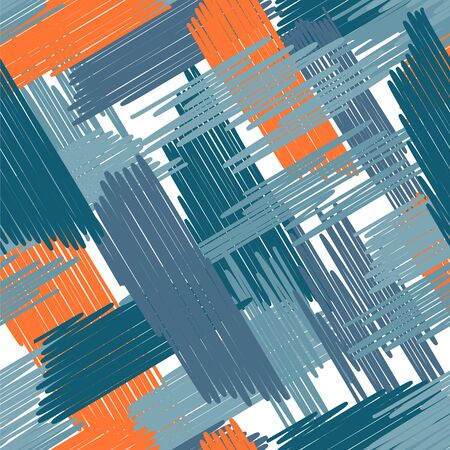 Abstract colored seamless background of doodle. Multicolored doodles are drawn with a felt pen randomly. Suitable for fabric, packaging, wallpaper. Vector illustration.