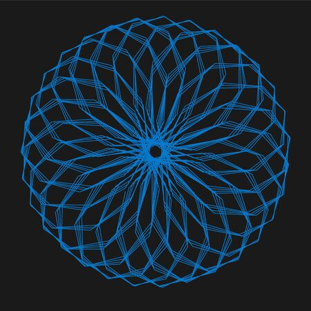 Abstract decorative floral spirograph circular element.