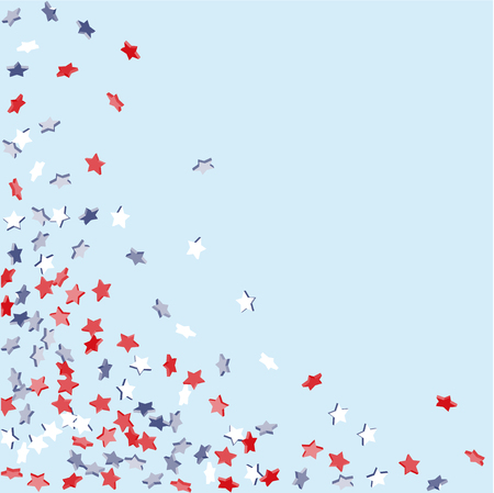 Star background, pending red, blue, white stars of confetti on light blue. American coloring, bright design. Suitable for your design, cards, invitations, gifts, VIP.