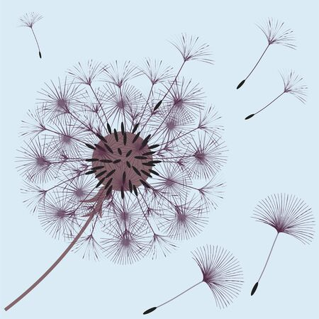 Abstract background of a dandelion for design. The wind blows the seeds of a dandelion. Template for posters, wallpapers, posters. Vector illustrations. Illustration