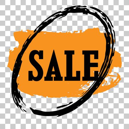 Sale sign surrounded with a black circle and an orange a checked background Illustration