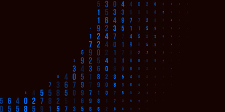 A modern design for digital wallpaper design. Concept business background. Abstract technical background of blue numbers on black. Illustration of the concept of a hacker. Computer code data. Vector. Illustration