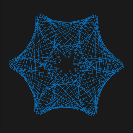 Blue abstract spirograph star shaped design on a black background