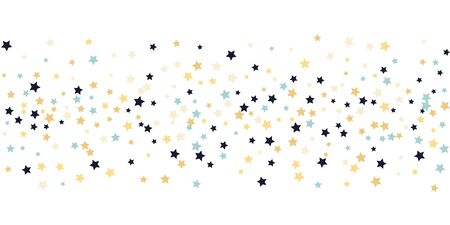 Abstract flying confetti star. A falling star background. White background with blue, yellow and brown stars. Suitable for your design, cards, invitations, gifts. Stock Illustratie