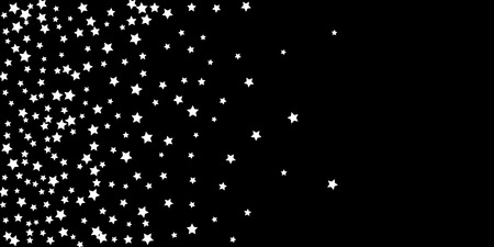 Abstract flying confetti star. A falling star background. Random white stars shine against a black background. Suitable for your design, cards, invitations, gifts.
