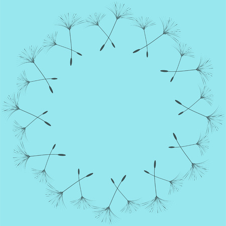 Abstract frame of a dandelion for design. The wind blows the seeds of a dandelion. Template for posters, postcards. Vector illustrations. Stock Vector - 98289152