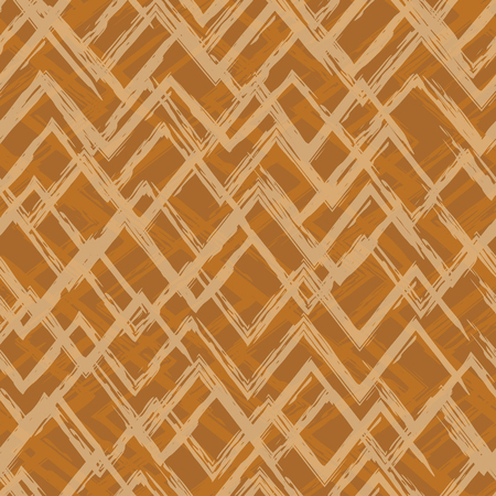 Brown seamless geometric pattern with abstract brush strokes.