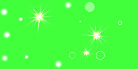 Abstract green vector background. Chaotic confetti stars shine on a green background. Ilustrace