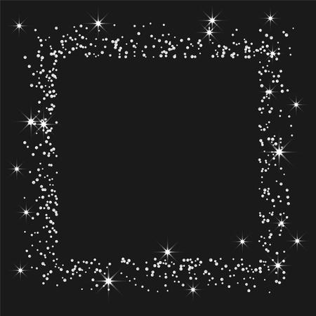 Silver confetti Frame on a black backdrop Ilustração
