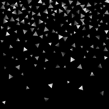Silver confetti triangle on a black background. Abstract celebration background in the form of a silver triangle. Decorative element. Suitable for your design, cards, invitations, gifts.