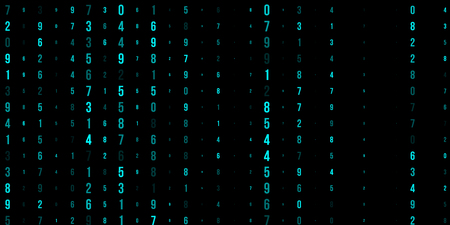 Abstract technical background of neon numbers on black. Illustration of the concept of a hacker. Computer code data. Vector.