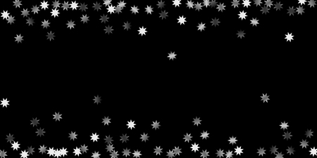 Abstract silver star of confetti. Falling starry background. Random stars shine on a black background. The dark sky with shining stars. Suitable for your design, cards, invitations, gifts. 일러스트
