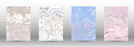 A set of modern covers. Abstract marble pattern. Light blue, beige, pink, white pattern with lava figures. An illustration consisting of blurred lines, circles. Template for your business design. Иллюстрация