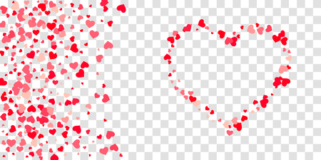 The heart of confetti in red and pink color is beautifully falling chaotically against the background. Template for posters, posters, postcards, invitations. Valentine's Day. Vector illustration