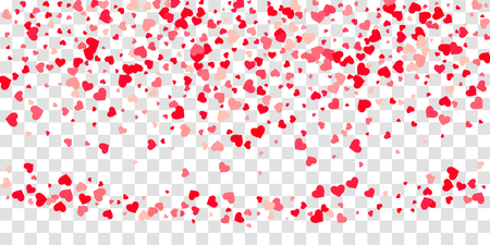 The heart of confetti in red and pink color is beautifully falling chaotically against the background.
