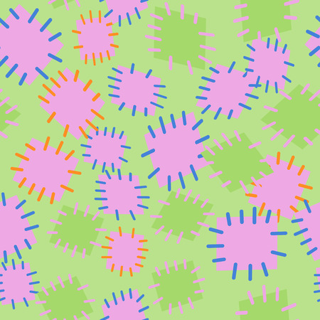 Seamless pattern in color patches. Bright cute background of multicolored scraps of fabric, sewn with different colors of thread. Illustration