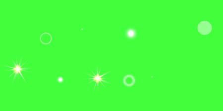 Chaotic confetti stars shine on a green background. Illustration