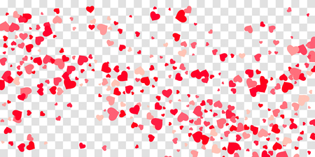 The heart of confetti in red and pink color is beautifully falling chaotically against the background. Template for posters, posters, postcards, invitations. Valentines Day.