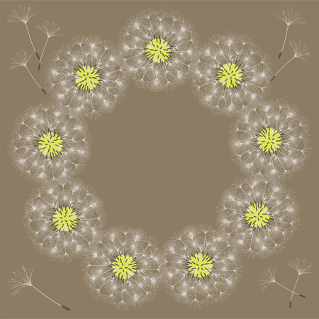 Abstract frame of a dandelion for design. The wind blows the seeds of a dandelion. Template for posters, postcards. Vector illustrations. Stock Vector - 100911497