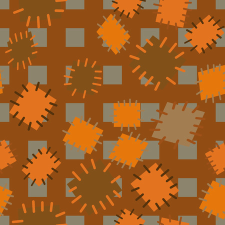 Seamless pattern in colored patches. Bright cute background of multi-colored scraps of fabric, sewn with different colors of thread.