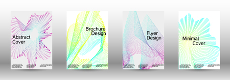 Modern design template. A set of creative sound backgrounds with abstract gradient linear waves to create a fashionable abstract cover, banner, poster, booklet.