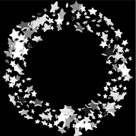 Silver volumetric star-confetti fall on a black background. Falling stars on a white background. Bright design pattern. Illustration