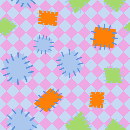 Seamless pattern in color patches. Bright cute background of multicolored scraps of fabric, sewn with different colors of thread. Can be used for fabric design, childrens wallpaper, postcards. Vector