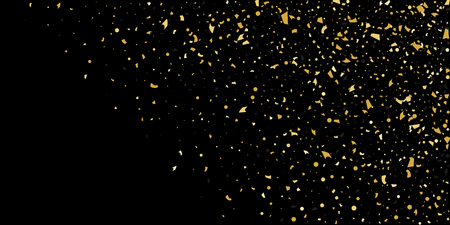 Glitter of golden particles of confetti on a black background. Illustration of chaotically falling shiny particles. Decorative element. Luxury background for your design, cards, invitations, gift, vip Illustration