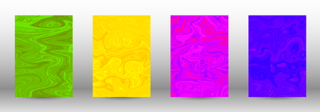 A set of modern covers. Abstract marble pattern. Blue, green, pink, yellow pattern with lava figures. An illustration consisting of blurred lines, circles. Template for your business design.Vector. Ilustração