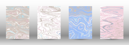 A set of modern covers. Abstract marble pattern. Light blue, beige, pink, white pattern with lava figures. An illustration consisting of blurred lines, circles. Template for your business design.